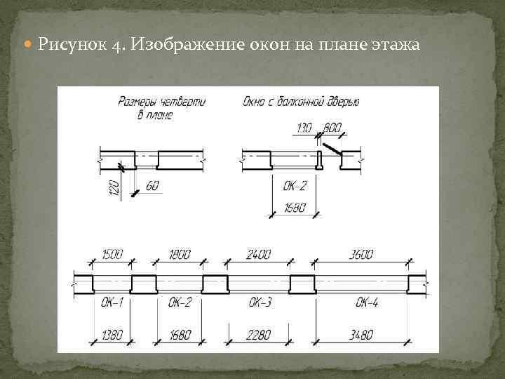 Как изображается окно на схеме 65