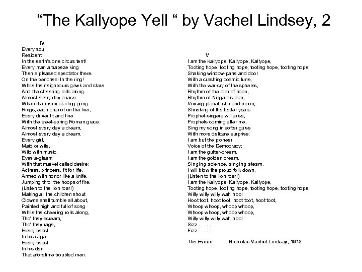 """""""The Kallyope Yell """" by Vachel Lindsey, 2 IV Every soul Resident In the"""