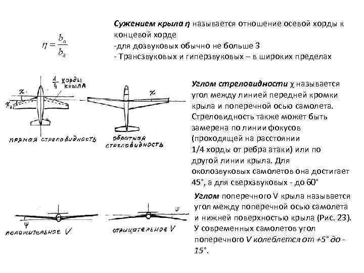 Сужением крыла η называется отношение осевой хорды к концевой хорде -для дозвуковых обычно не