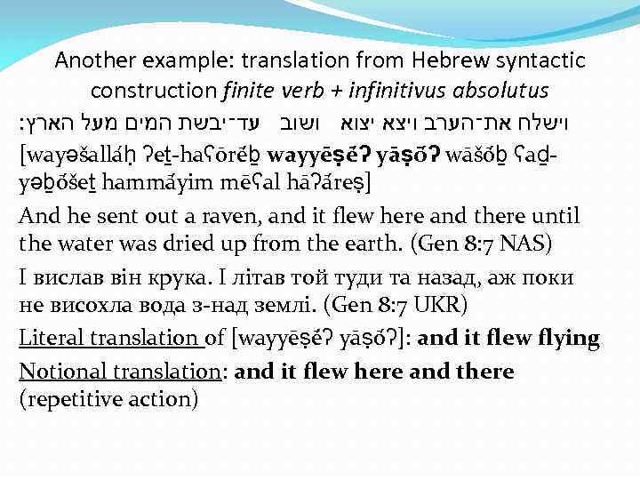 Another example: translation from Hebrew syntactic construction finite verb + infinitivus absolutus וישלח את־הערב