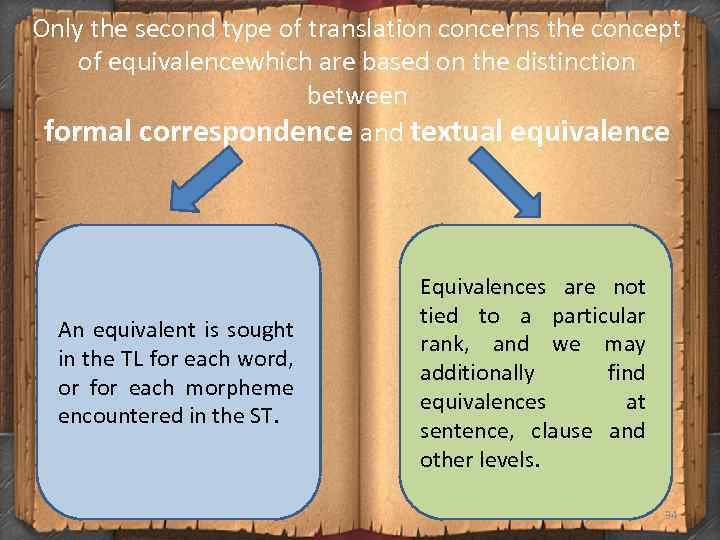 Only the second type of translation concerns the concept of equivalencewhich are based on