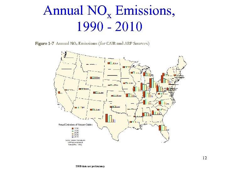 Annual NOx Emissions, 1990 - 2010 12 2008 data are preliminary