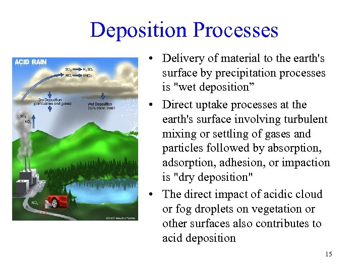 Deposition Processes • Delivery of material to the earth's surface by precipitation processes is