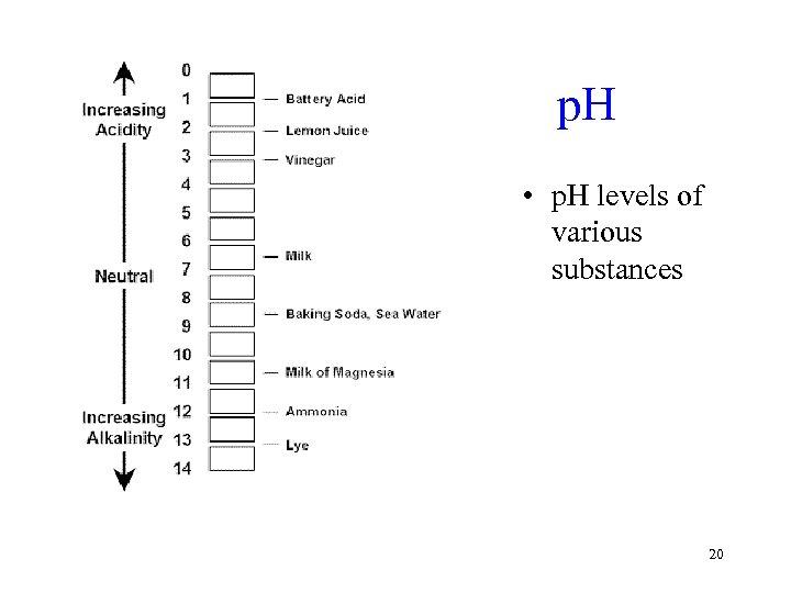 p. H • p. H levels of various substances 20