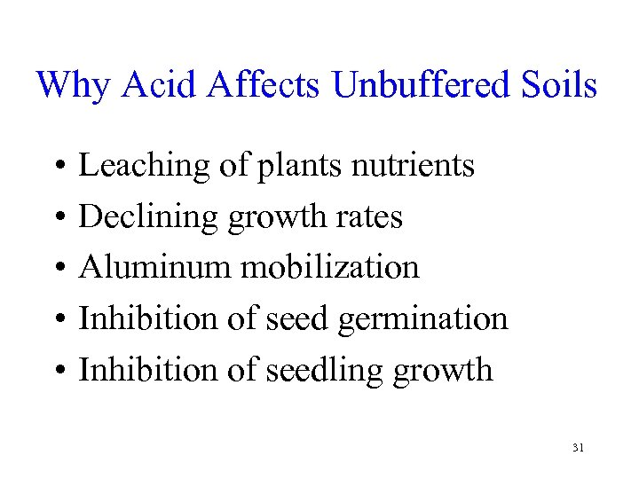 Why Acid Affects Unbuffered Soils • • • Leaching of plants nutrients Declining growth