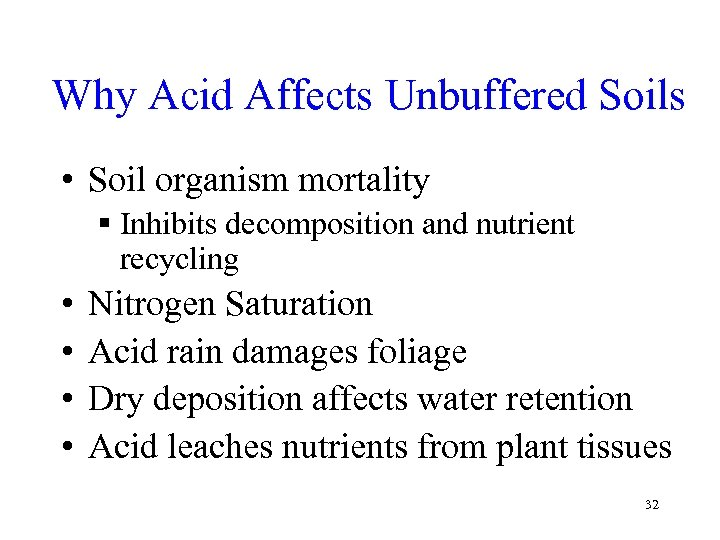 Why Acid Affects Unbuffered Soils • Soil organism mortality § Inhibits decomposition and nutrient