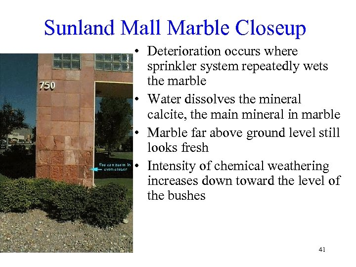 Sunland Mall Marble Closeup • Deterioration occurs where sprinkler system repeatedly wets the marble
