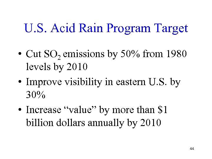U. S. Acid Rain Program Target • Cut SO 2 emissions by 50% from