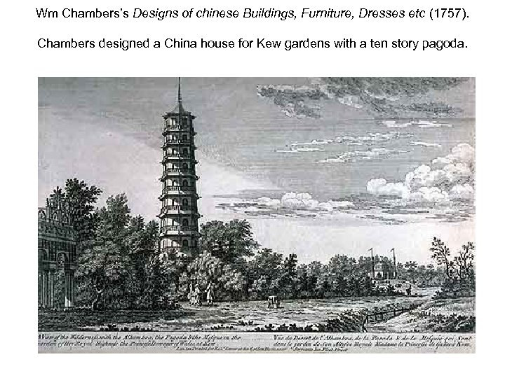 Wm Chambers's Designs of chinese Buildings, Furniture, Dresses etc (1757). Chambers designed a China