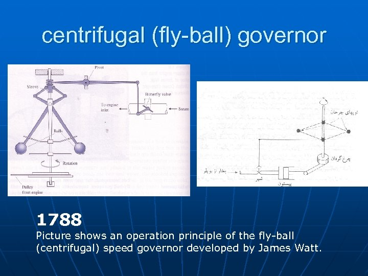 centrifugal (fly-ball) governor 1788 Picture shows an operation principle of the fly-ball (centrifugal) speed