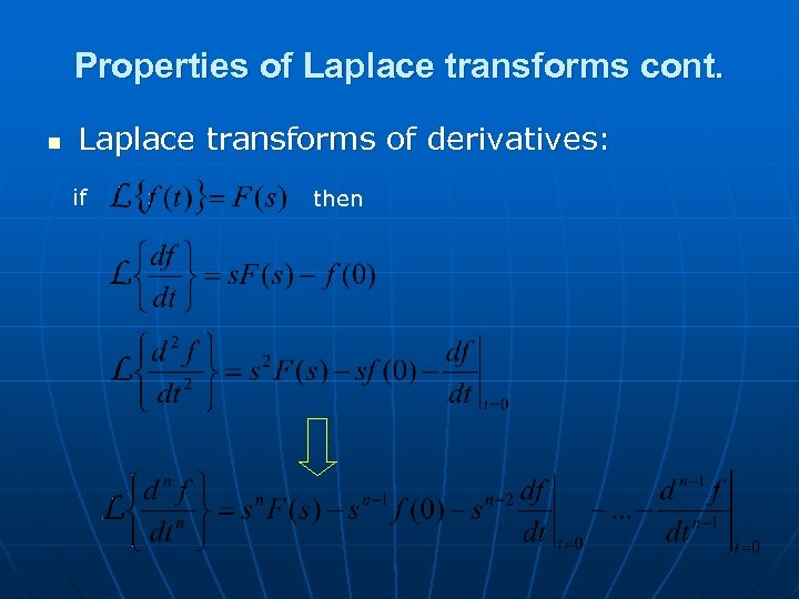 Properties of Laplace transforms cont. n Laplace transforms of derivatives: if then
