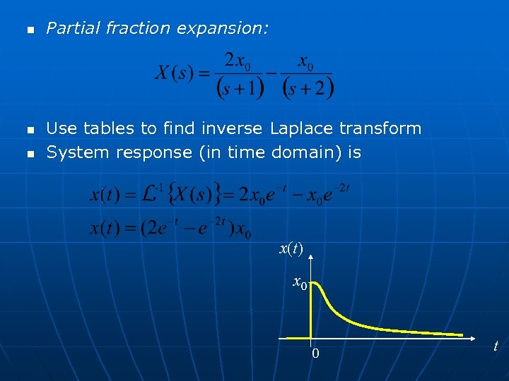n n n Partial fraction expansion: Use tables to find inverse Laplace transform System