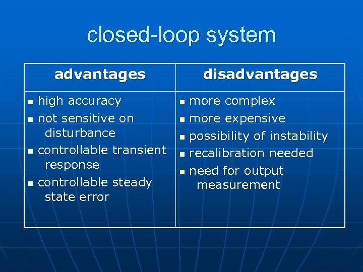 closed-loop system advantages n n high accuracy not sensitive on disturbance controllable transient response