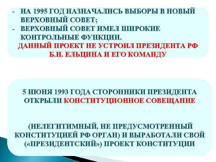 - НА 1995 ГОД НАЗНАЧАЛИСЬ ВЫБОРЫ В НОВЫЙ ВЕРХОВНЫЙ СОВЕТ; - ВЕРХОВНЫЙ СОВЕТ ИМЕЛ