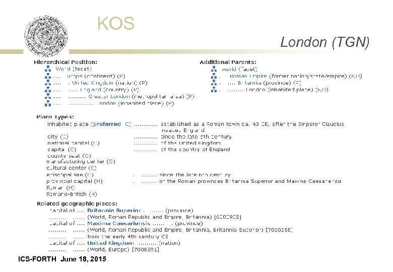 KOS London (TGN) ICS-FORTH June 18, 2015