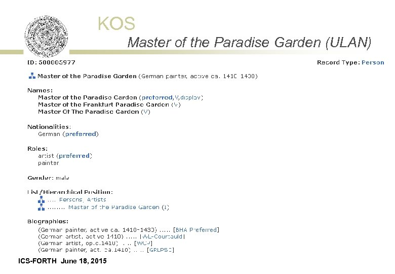 KOS Master of the Paradise Garden (ULAN) ICS-FORTH June 18, 2015