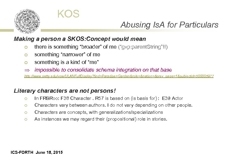 KOS Abusing Is. A for Particulars Making a person a SKOS: Concept would mean