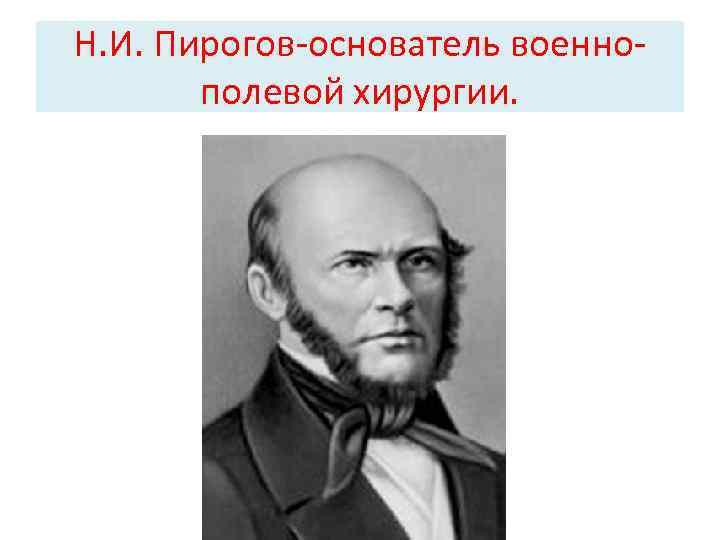 Н. И. Пирогов-основатель военнополевой хирургии.