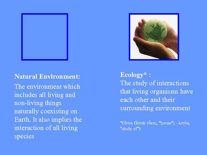 Natural Environment: The environment which includes all living and non-living things naturally coexisting on