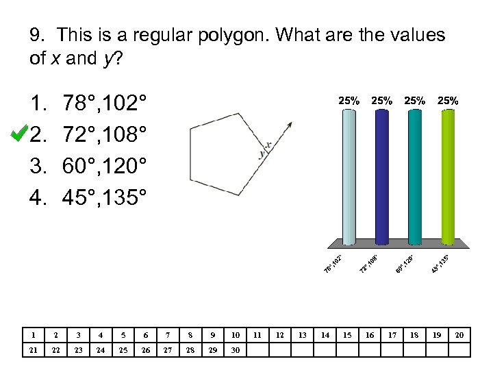9. This is a regular polygon. What are the values of x and y?