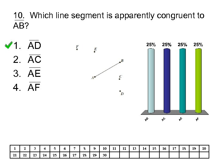 10. Which line segment is apparently congruent to AB? 1. 2. 3. 4. AD