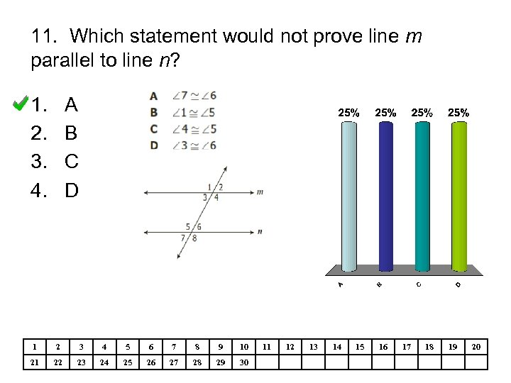 11. Which statement would not prove line m parallel to line n? 1. 2.