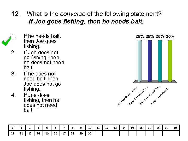 12. What is the converse of the following statement? If Joe goes fishing, then