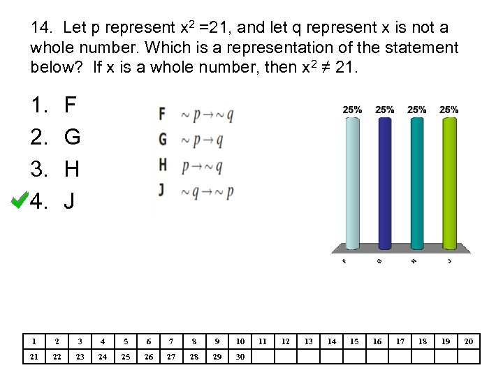 14. Let p represent x 2 =21, and let q represent x is not