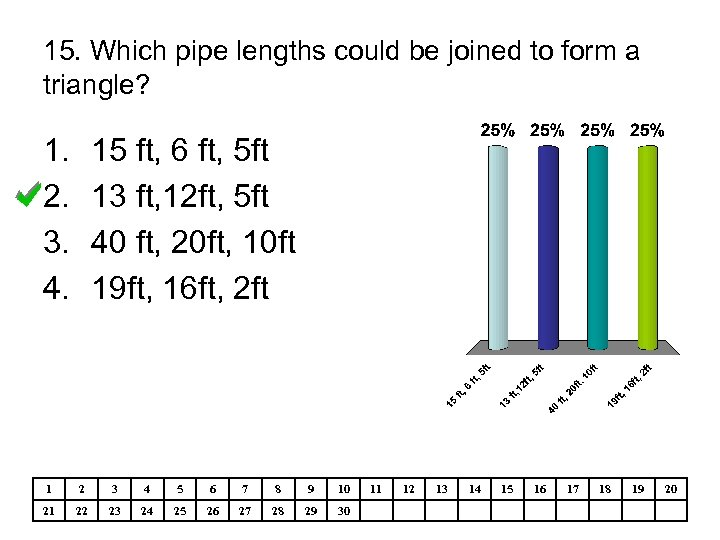 15. Which pipe lengths could be joined to form a triangle? 1. 2. 3.