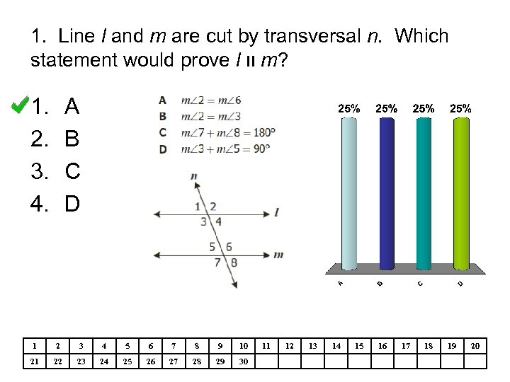 1. Line l and m are cut by transversal n. Which statement would prove