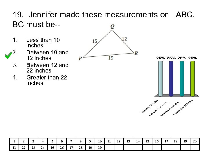 19. Jennifer made these measurements on ABC. BC must be-1. Less than 10 inches