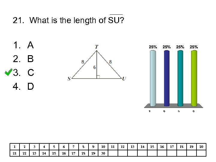 21. What is the length of SU? 1. 2. 3. 4. A B C