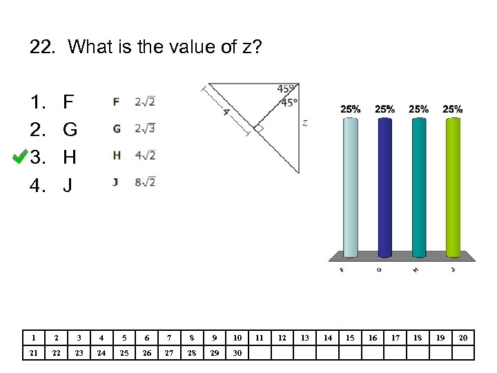 22. What is the value of z? 1. 2. 3. 4. F G H