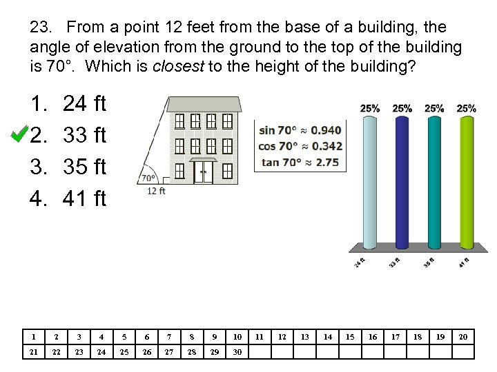 23. From a point 12 feet from the base of a building, the angle