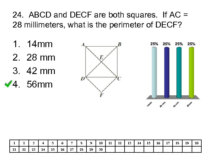 24. ABCD and DECF are both squares. If AC = 28 millimeters, what is