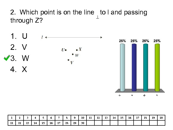 2. Which point is on the line to l and passing through Z? 1.