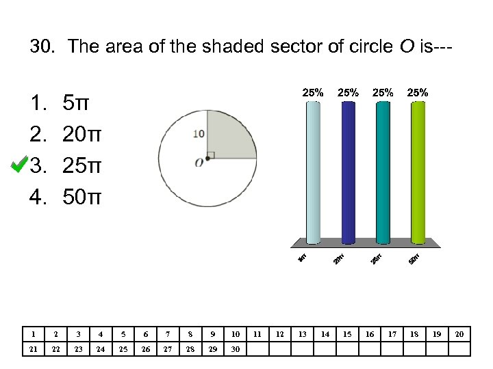 30. The area of the shaded sector of circle O is--- 1. 2. 3.