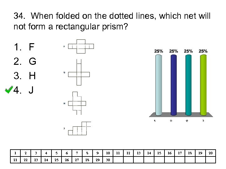 34. When folded on the dotted lines, which net will not form a rectangular