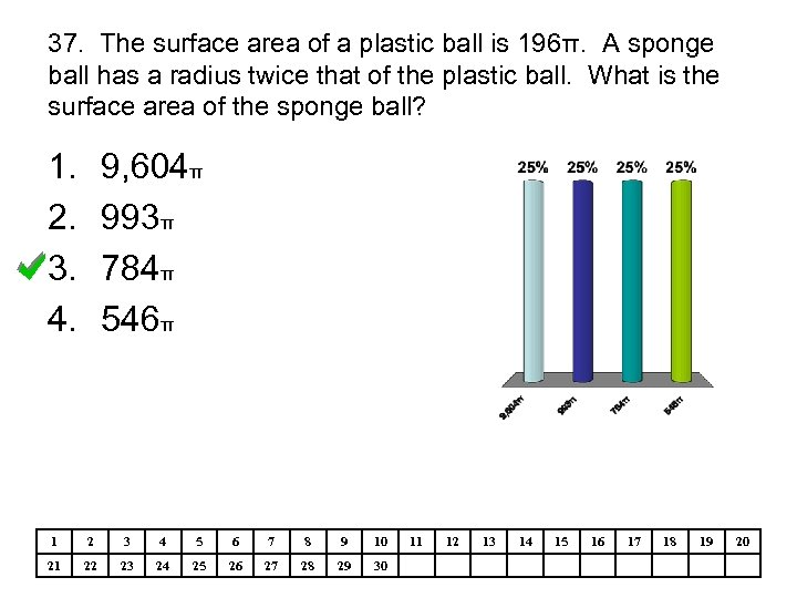 37. The surface area of a plastic ball is 196π. A sponge ball has