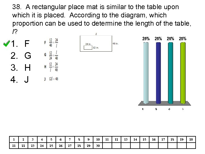 38. A rectangular place mat is similar to the table upon which it is
