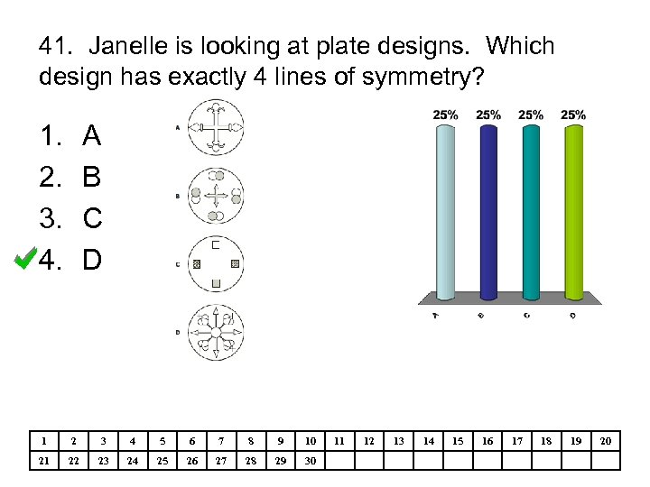 41. Janelle is looking at plate designs. Which design has exactly 4 lines of