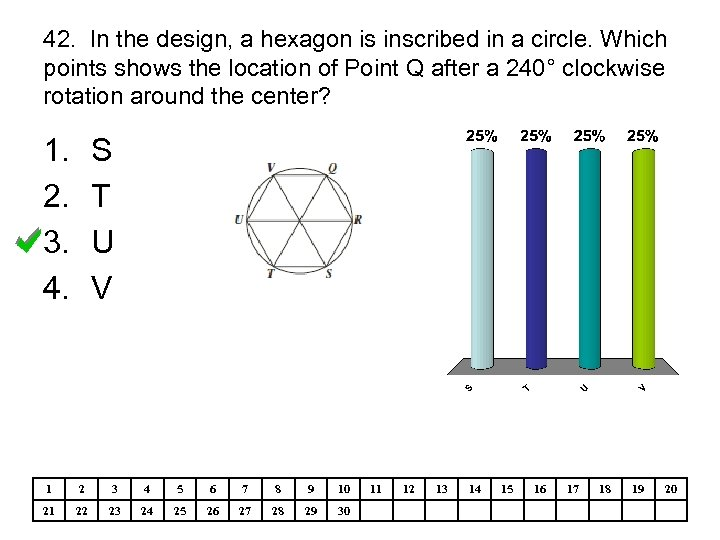42. In the design, a hexagon is inscribed in a circle. Which points shows