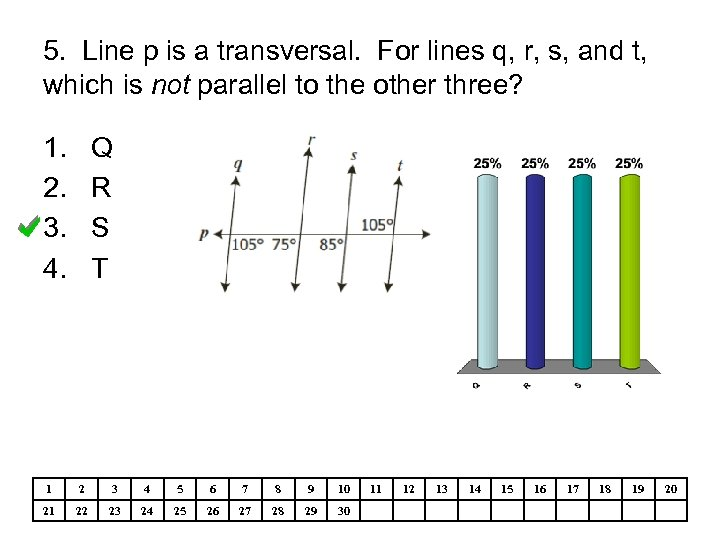 5. Line p is a transversal. For lines q, r, s, and t, which