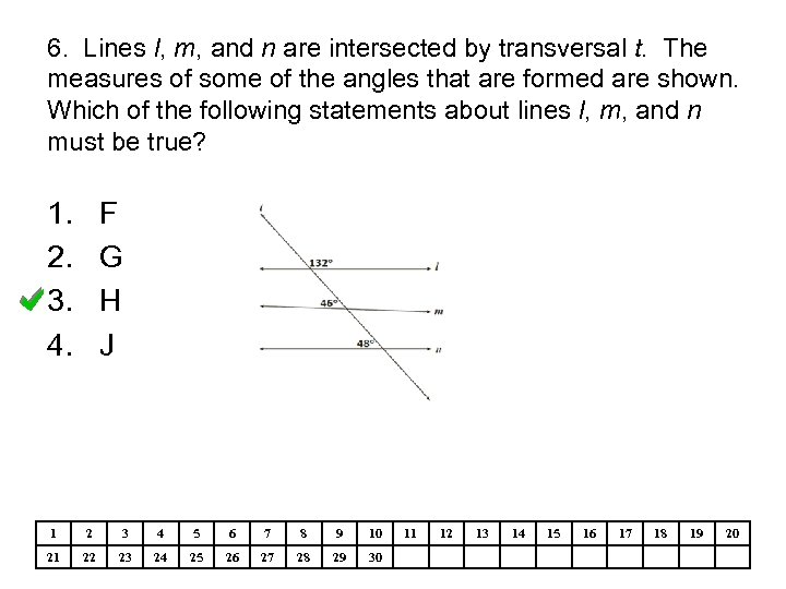 6. Lines l, m, and n are intersected by transversal t. The measures of