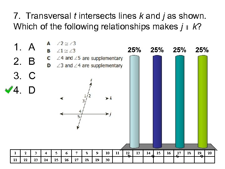 7. Transversal t intersects lines k and j as shown. Which of the following