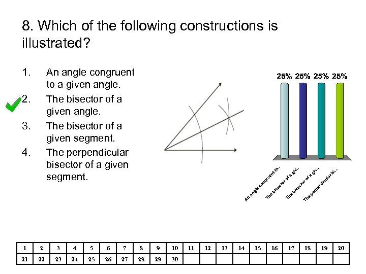 8. Which of the following constructions is illustrated? 1. An angle congruent to a