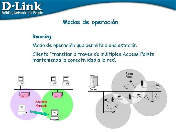 """Modos de operación Roaming. Modo de operación que permite a una estación Cliente """"transitar"""