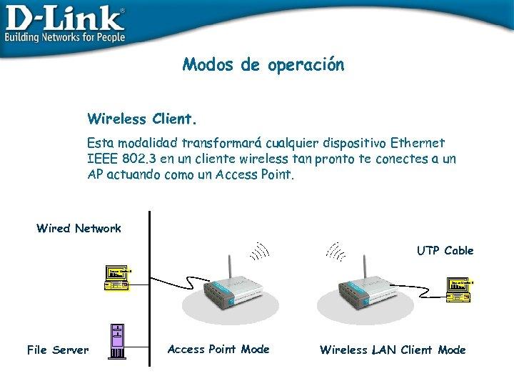 Modos de operación Wireless Client. Esta modalidad transformará cualquier dispositivo Ethernet IEEE 802. 3