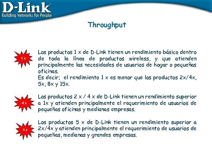 Throughput 1 x 4 x 5 x Los productos 1 x de D-Link tienen