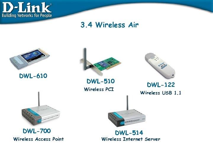 3. 4 Wireless Air DWL-610 DWL-510 Wireless PCI Wireless PCMCIA DWL-700 Wireless Access Point